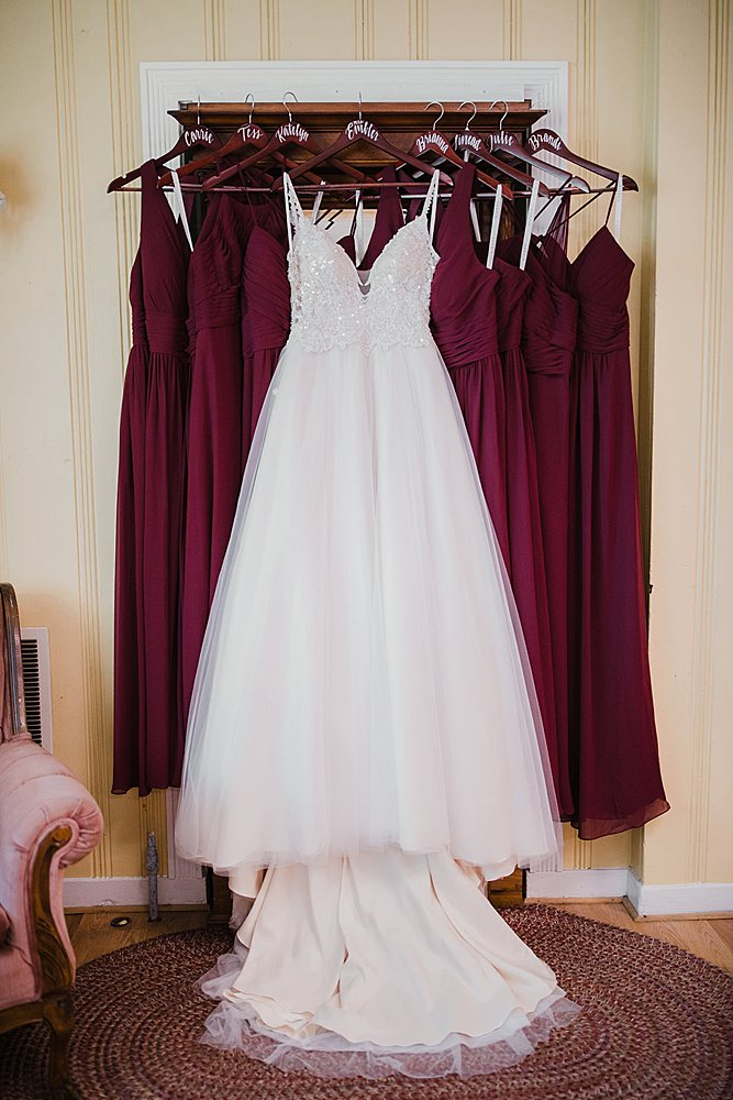 Bridal gown and bridesmaid dresses all ready at the Old Silk Mill
