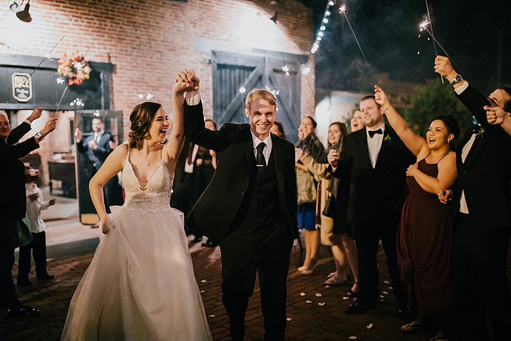 Couple during their sparkler send off at the Old Silk Mill