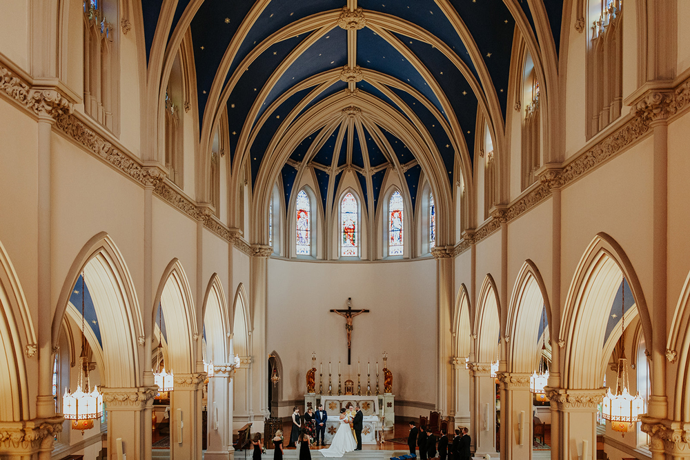 Catholic wedding ceremony at gorgeous St. Joseph's Church in Capitol Hill, D.C.