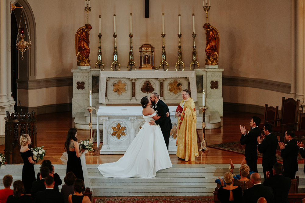 Winter wedding ceremony in gorgeous Catholic Church, Capitol Hill, DC