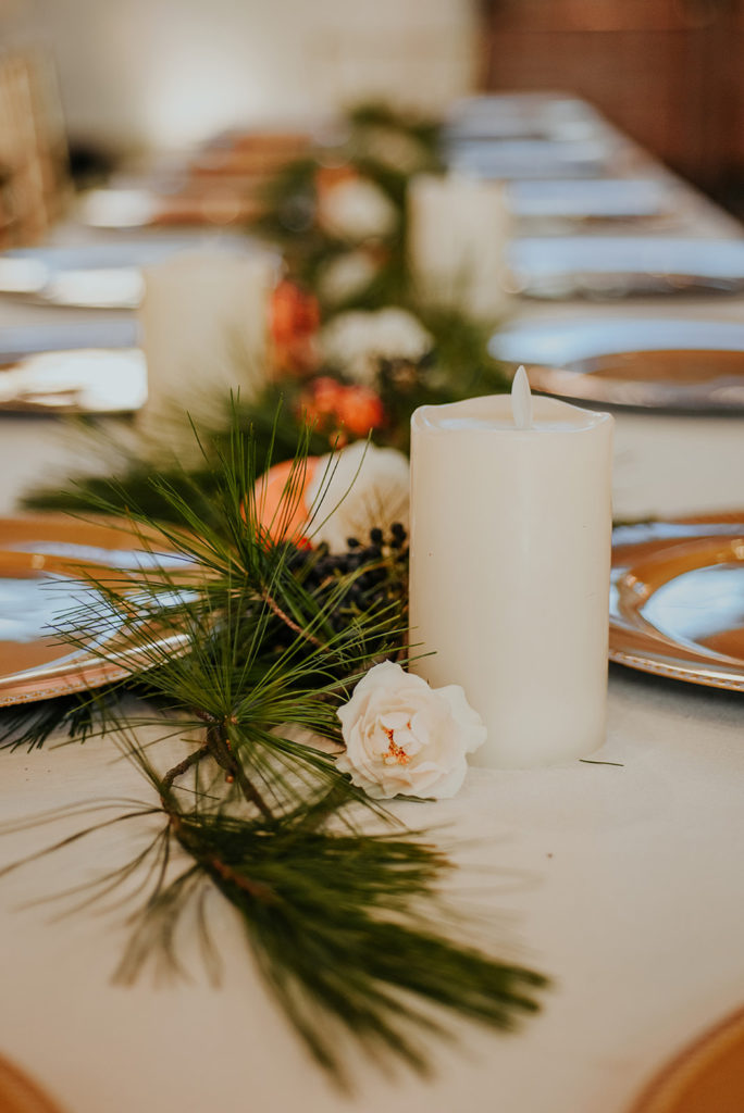 winter wedding with fresh balsam and citrus