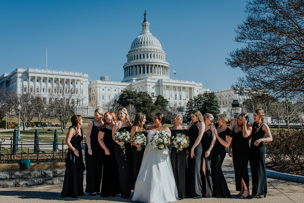 wedding party photos in downtown D.C. for this winter wedding