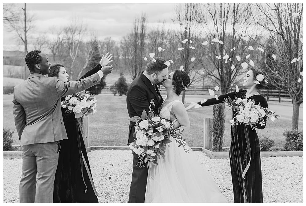 romantic rose petal send-off for this winter wedding.