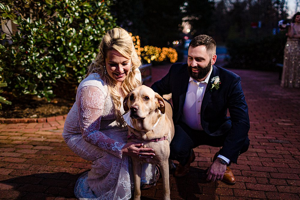 couple who included their dog in their wedding day! photo post-ceremony
