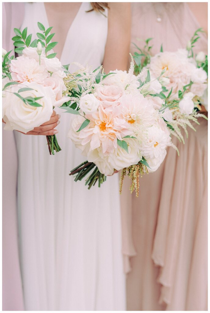 lush neutral wedding party bouquets