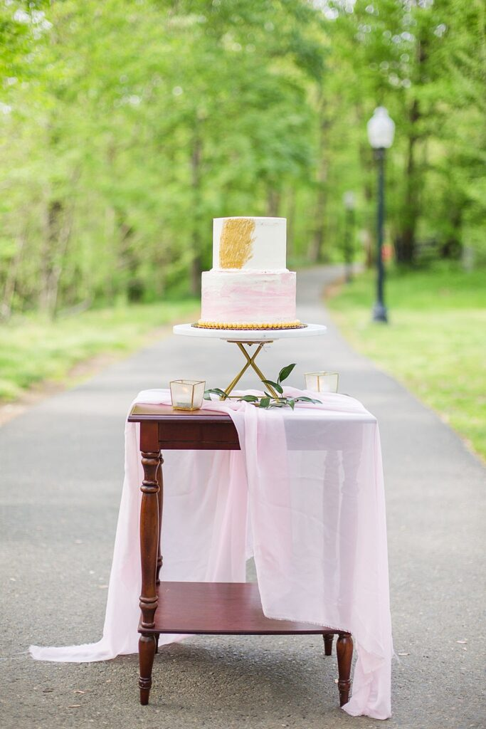 Two tier pink and white cake with a gold accent, sitting on a table covered by a pink drape in front of a park trail.